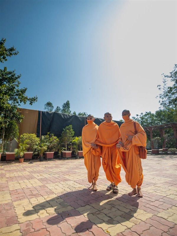 Swamishri during his walk in the afternoon