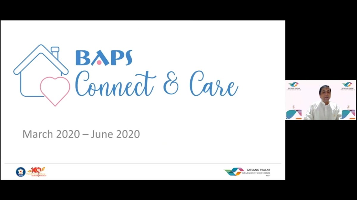 Jitendrabhai Mistry, a senior national volunteer, shared an update on the 'BAPS Connect & Care' project that reached out to thousands of families during the initial peak of the pandemic
