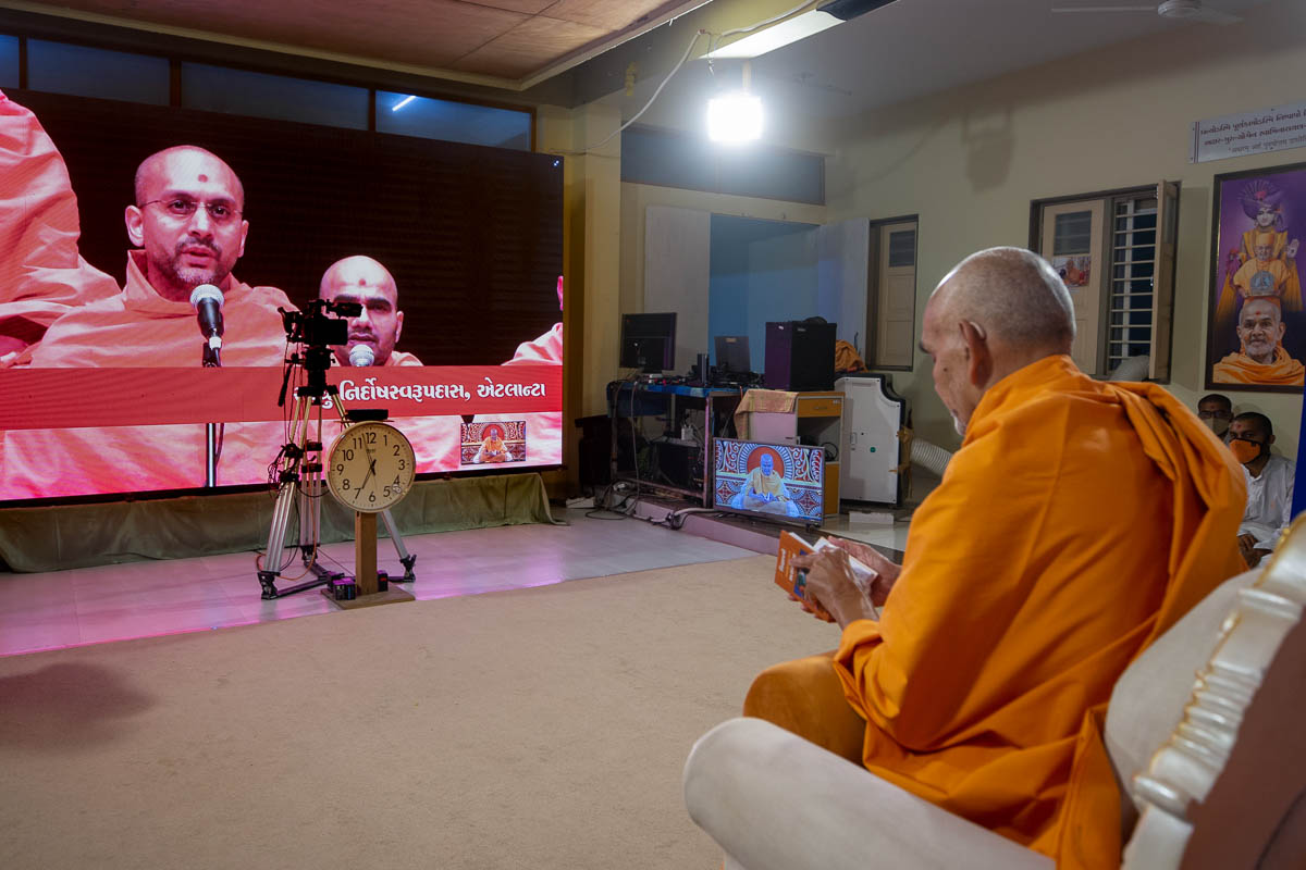 Sadhus sing kirtans via video conference from Atlanta Mandir