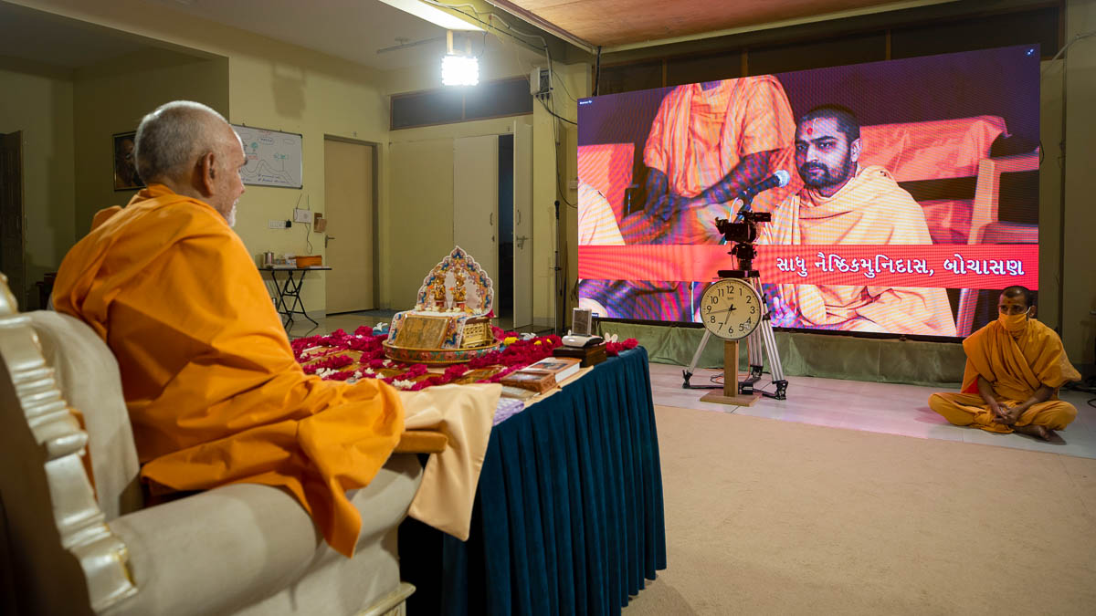 Sadhus sing kirtans via video conference from Bochasan Mandir