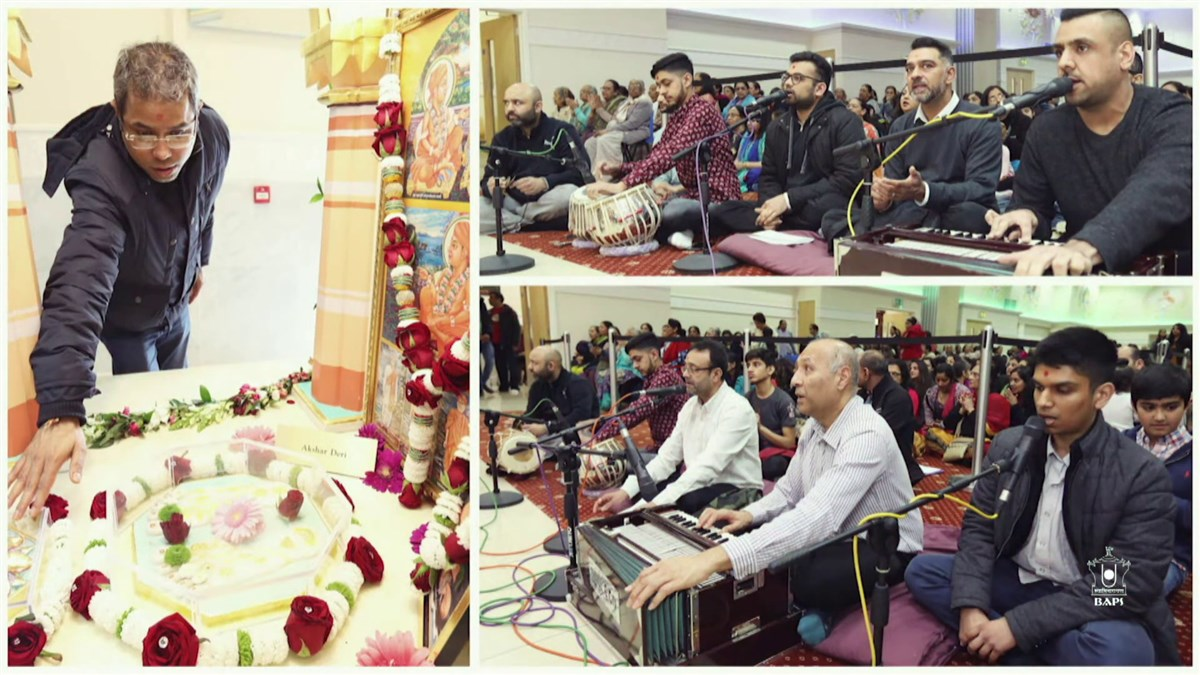 The live webcast was overlaid with photos of previous years when devotees had gathered from all over the UK