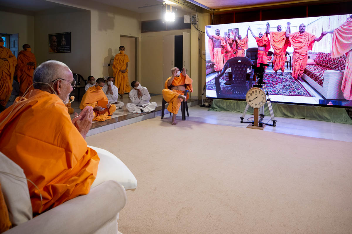 Sadhus join hands in a gesture of unity from Kolkata Mandir via video conference