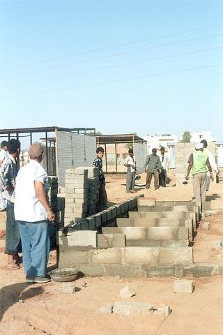 Sanitation facility being constructed