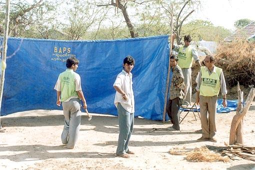 Temporary shelters of tarpaulin made wherever needed