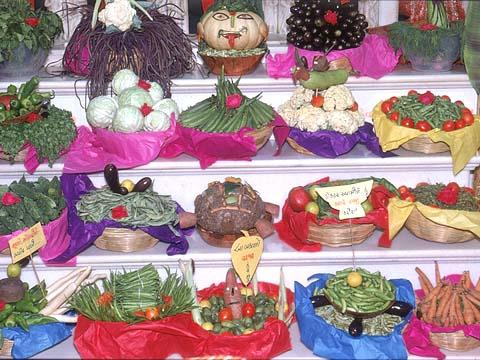An array of vegetables arranged before the Lord on the Festival of Prabodhini Ekadashi