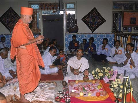 During Mahapuja on the occasion of the Silver Anniversary of the Mandir inauguration(Patotsav)