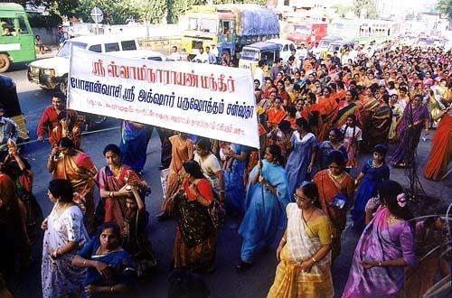 Women devotees participated in large numbers during the procession
