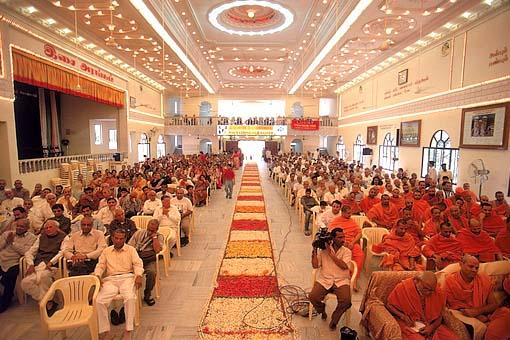 Murti pratishtha assembly at the Kalyan Mandap hall