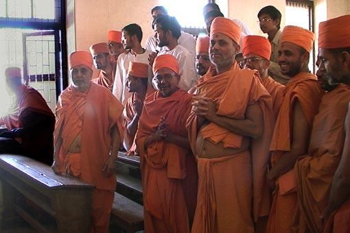 Swamishri at his childhood school in Padra