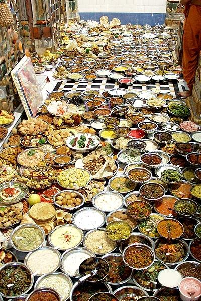 Varieties of food items offered to the deities in each of three shrines of the main mandir