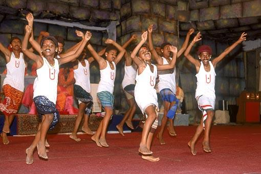 Satsangi children of Koli Samaj perform the traditional Koli dance