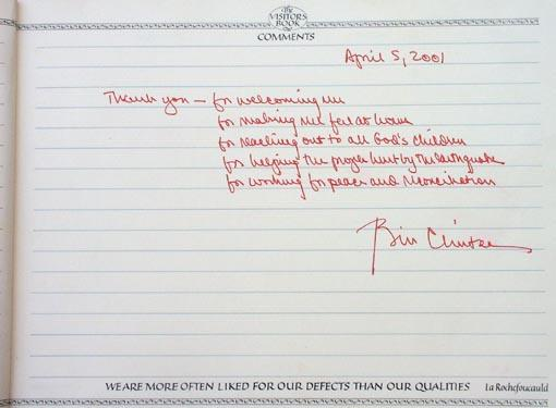 Bill Clinton's opinion in the Akshardham Visitors Book