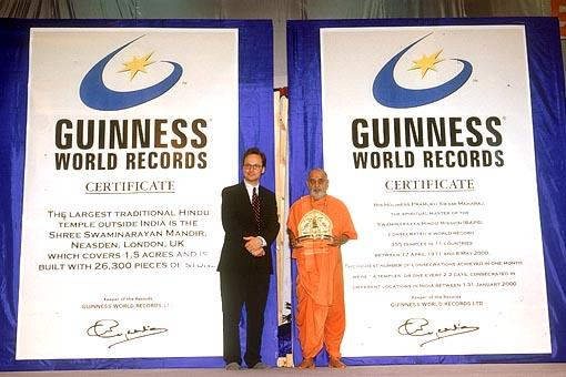 Guinness World Records Honors HDH Pramukh Swami Maharaj for Two World Records -
