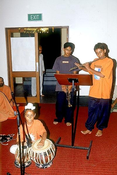Local youths display their musical talents in the Bal-Kishore assembly
