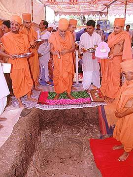 Ground-breaking ceremony for a new mandir