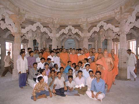 With the volunteers of Shri Akshar Purushottam Swaminarayan Mandir, Kosamba