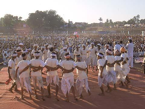 Tribals performing a folk dance during the assembly, Dharampur