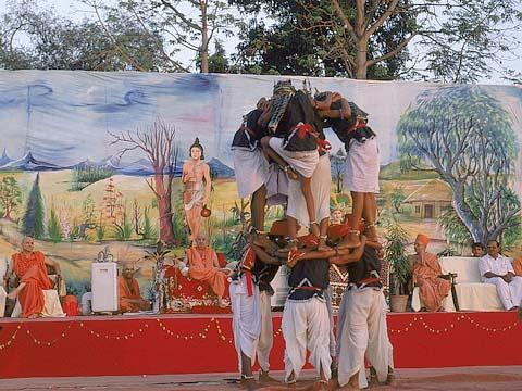 A folk dance performed by tribal youths, Dharampur