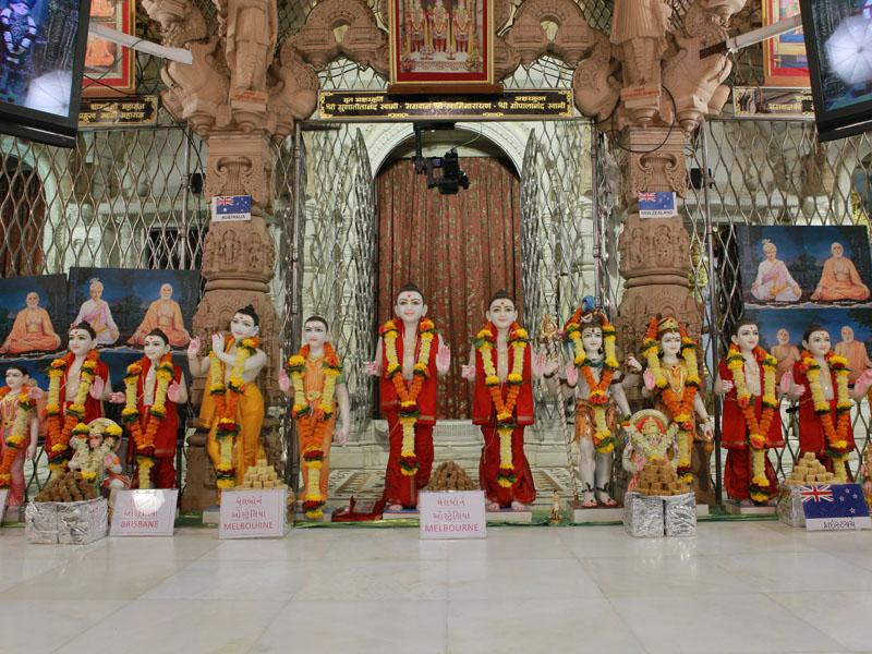 New murtis to be consecrated at the BAPS hari mandirs at Brisbane, Melbourne (Australia), Christchurch (New Zealand) and Samta (Vadodara)
