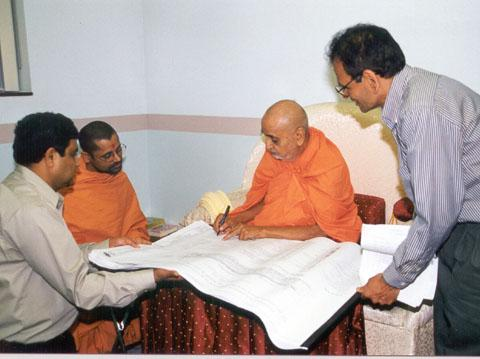 Blessing the drawings for Clifton Mandir