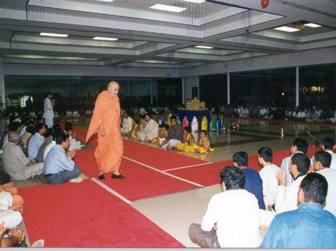 Swamishri's walk, as part of his daily routine