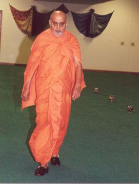 Swamishri's evening walk in the mandir hall