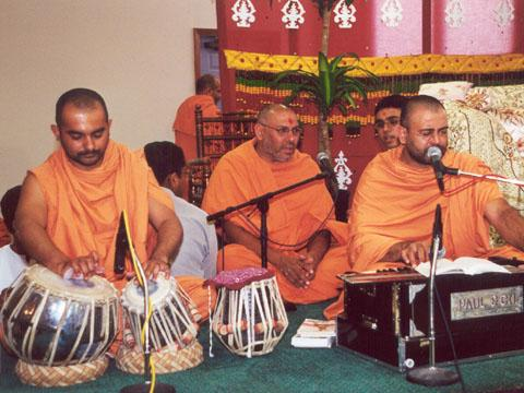 Sadhus singing devotional songs, kirtans