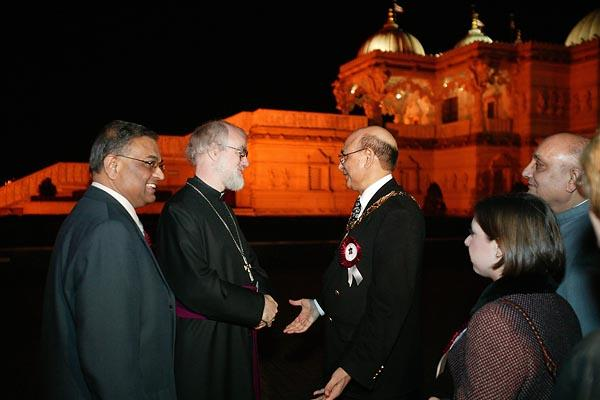 The Archbishop being welcomed by the Mayor of Brent, Cllr. Ahmed Shahzad