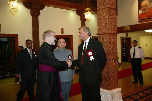 The Archbishop being greeted by The High Commissioner for India, His Excellency Mr Kamlesh Sharma