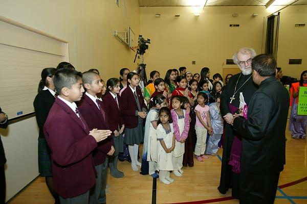 The Archbishop being introduced to children from The Swaminarayan School