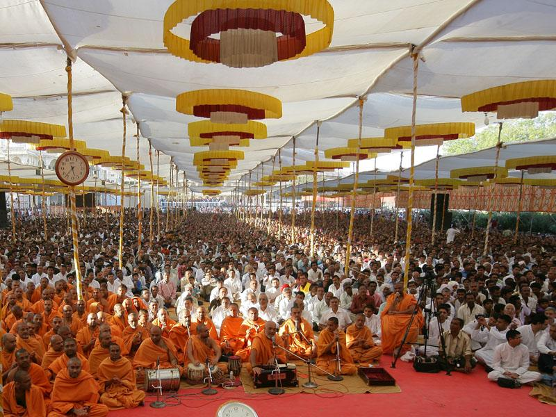 Sadhus and devotees during the diksha assembly