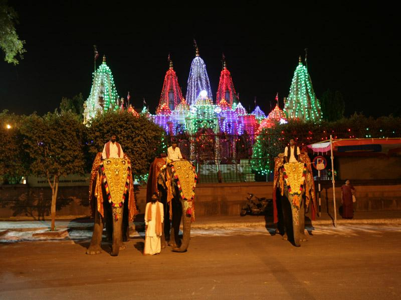 Specially decorated elephants honor Thakorji at dawn