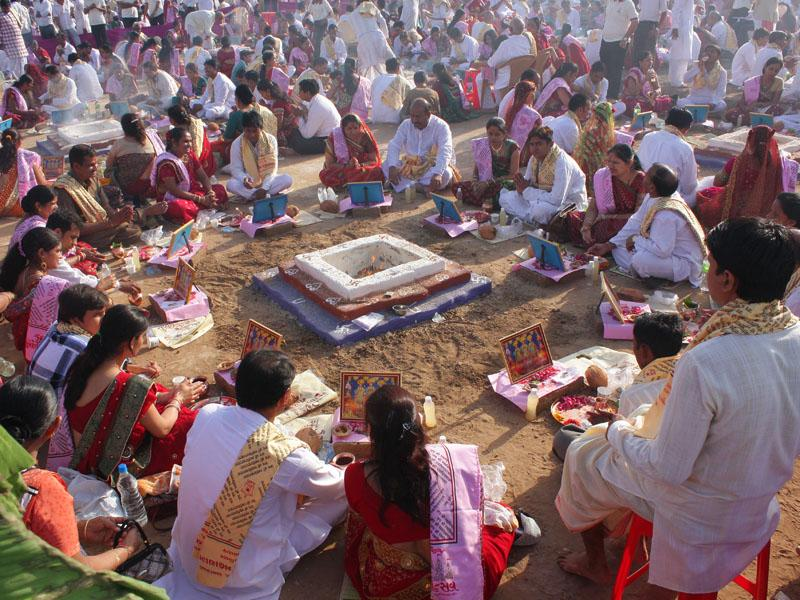 Devotees engaged in mahayagna rituals