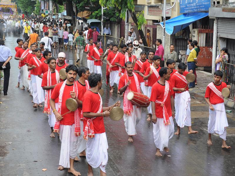 Traditional Oriya musicians play the gongs