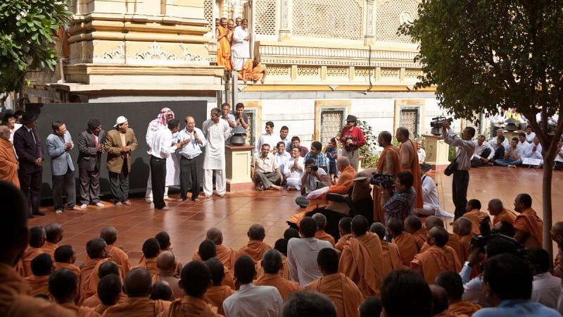 A skit presentation in front of Swamishri