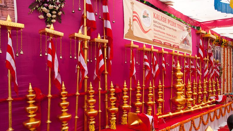 Kalashas and flagstaffs of BAPS Shri Swaminarayan Mandir, Chino Hills