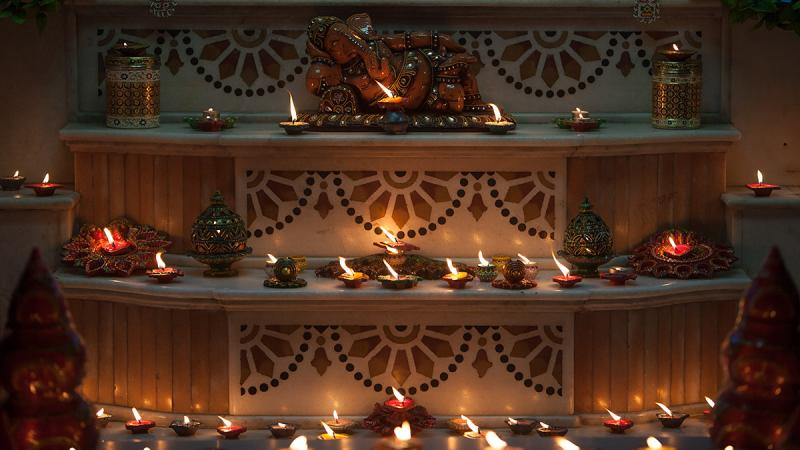 Diwali lamps and decorations in the mandir