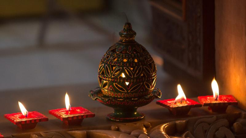 Diwali lamps and decorations