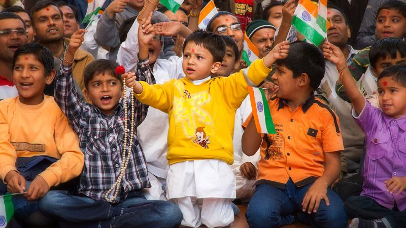 Kids wave the Indian tricolor