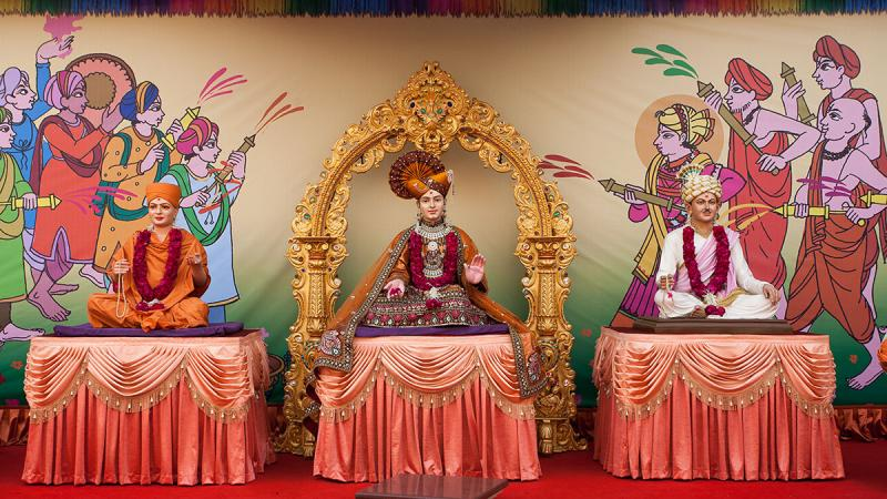 Utsav murtis on stage for Brahmaswarup Bhagatji Maharaj Janmotsav and Holi celebrations