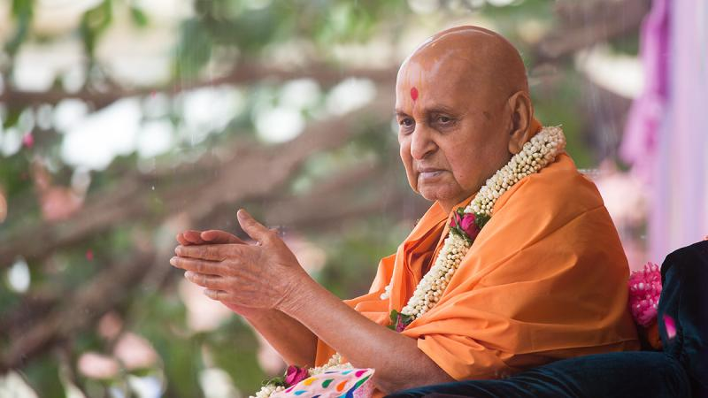 Swamishri blesses all during the Pushpadolotsav celebrations