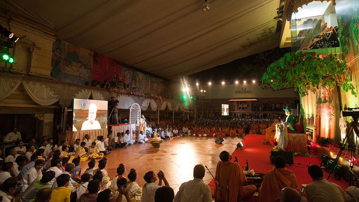 Sadhus and devotees during the celebration assembly