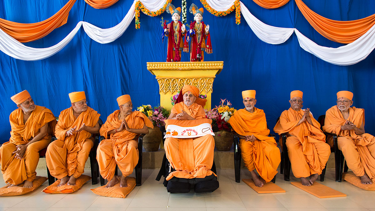 Swamishri and senior sadhus during the bhagwati diksha mahotsav for two youths