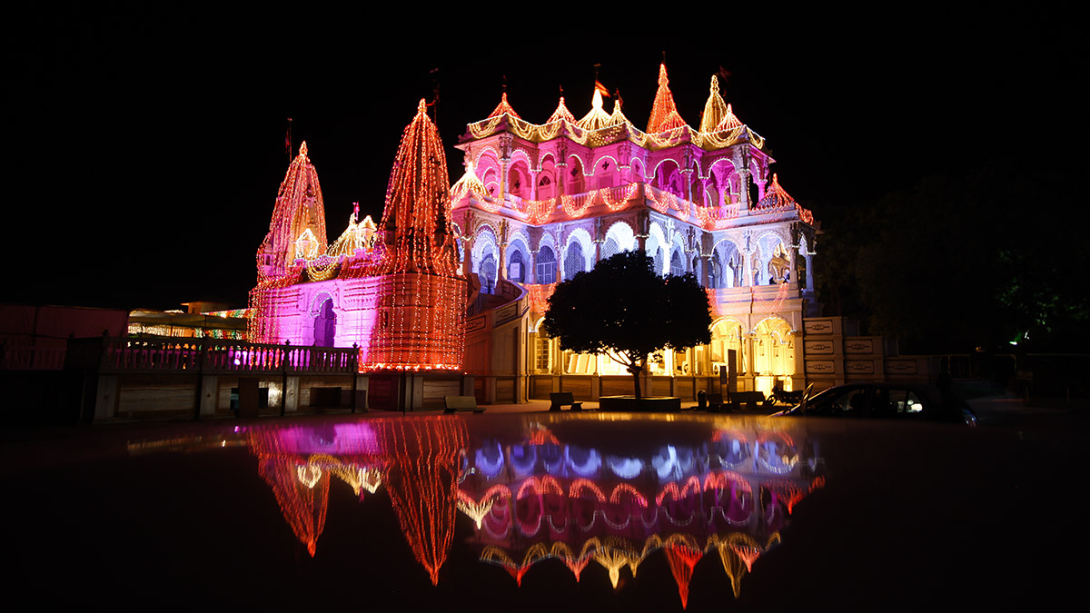 Mandir decorated with lights