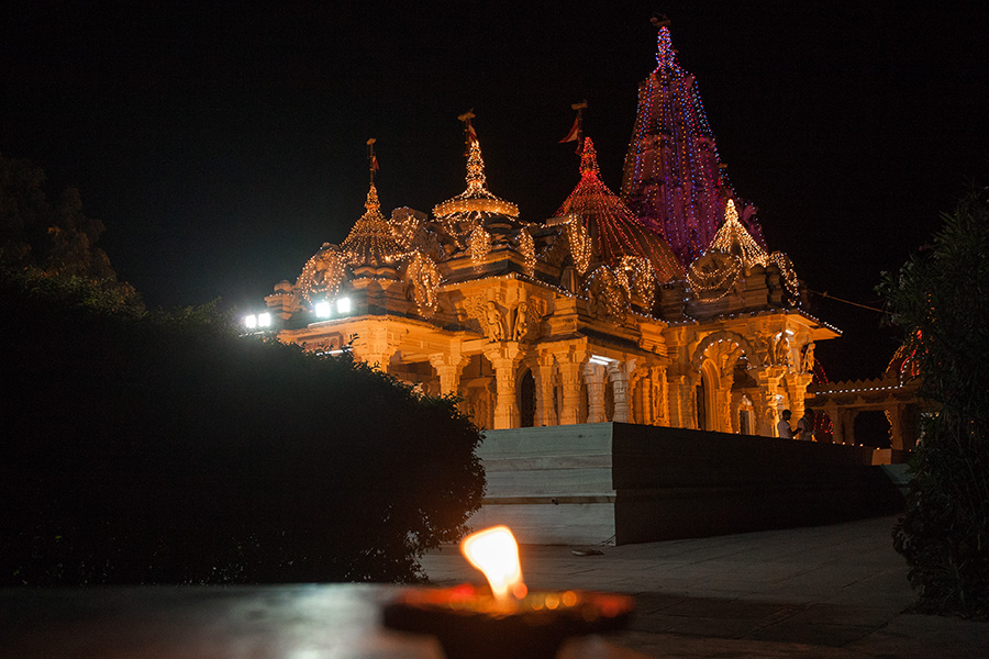 Smruti Mandir decorated with lights
