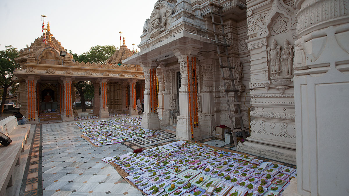 Account books laid out in preparation for Chopda Pujan