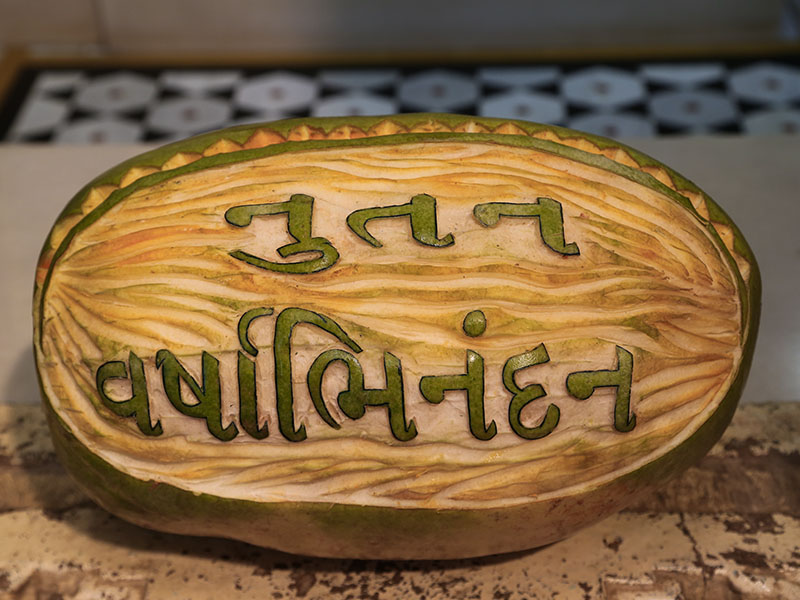 Decorative displays of fruits and vegetables