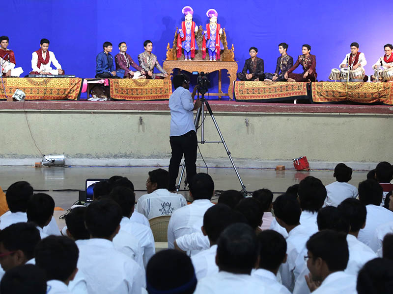 Youths sing kirtans as part of the Annual Day Celebrations