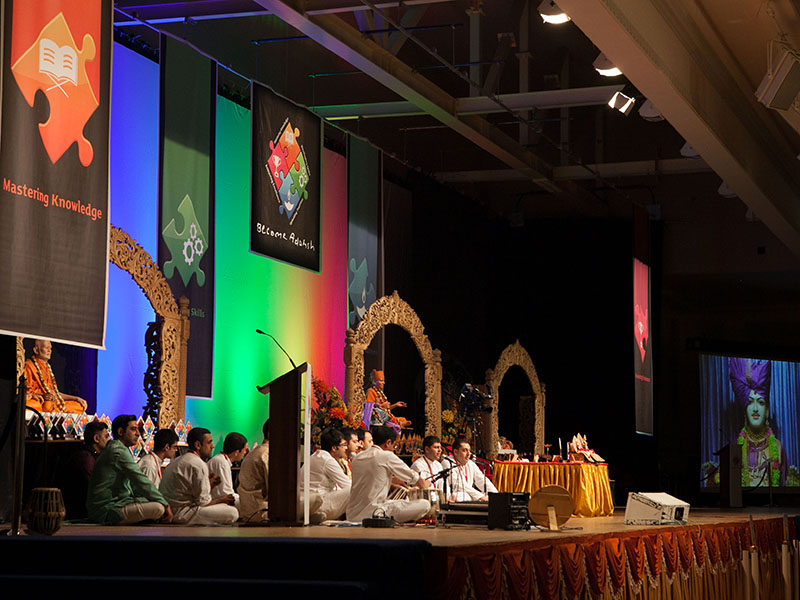Youths sing kirtans