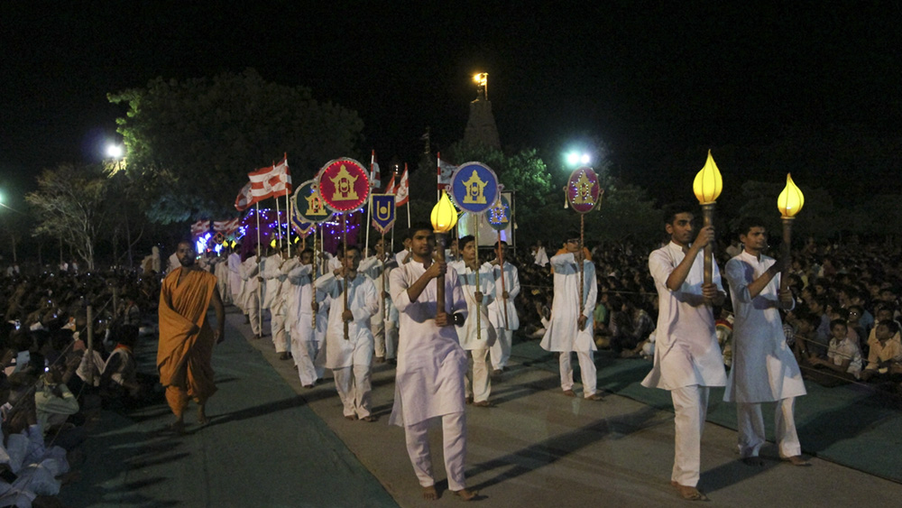 Youths participate in the rathyatra